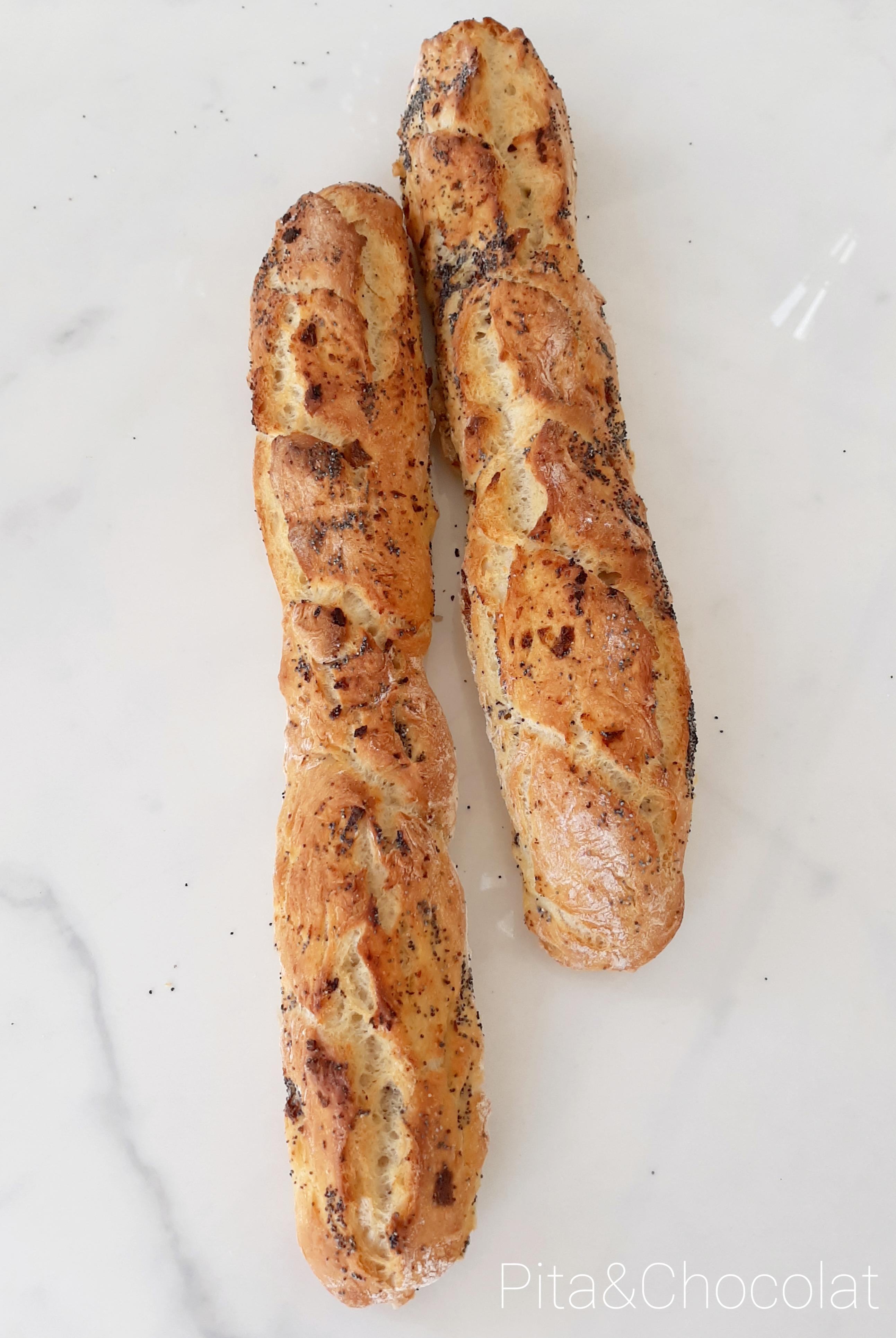 Baguettes de pain sans pétrissage