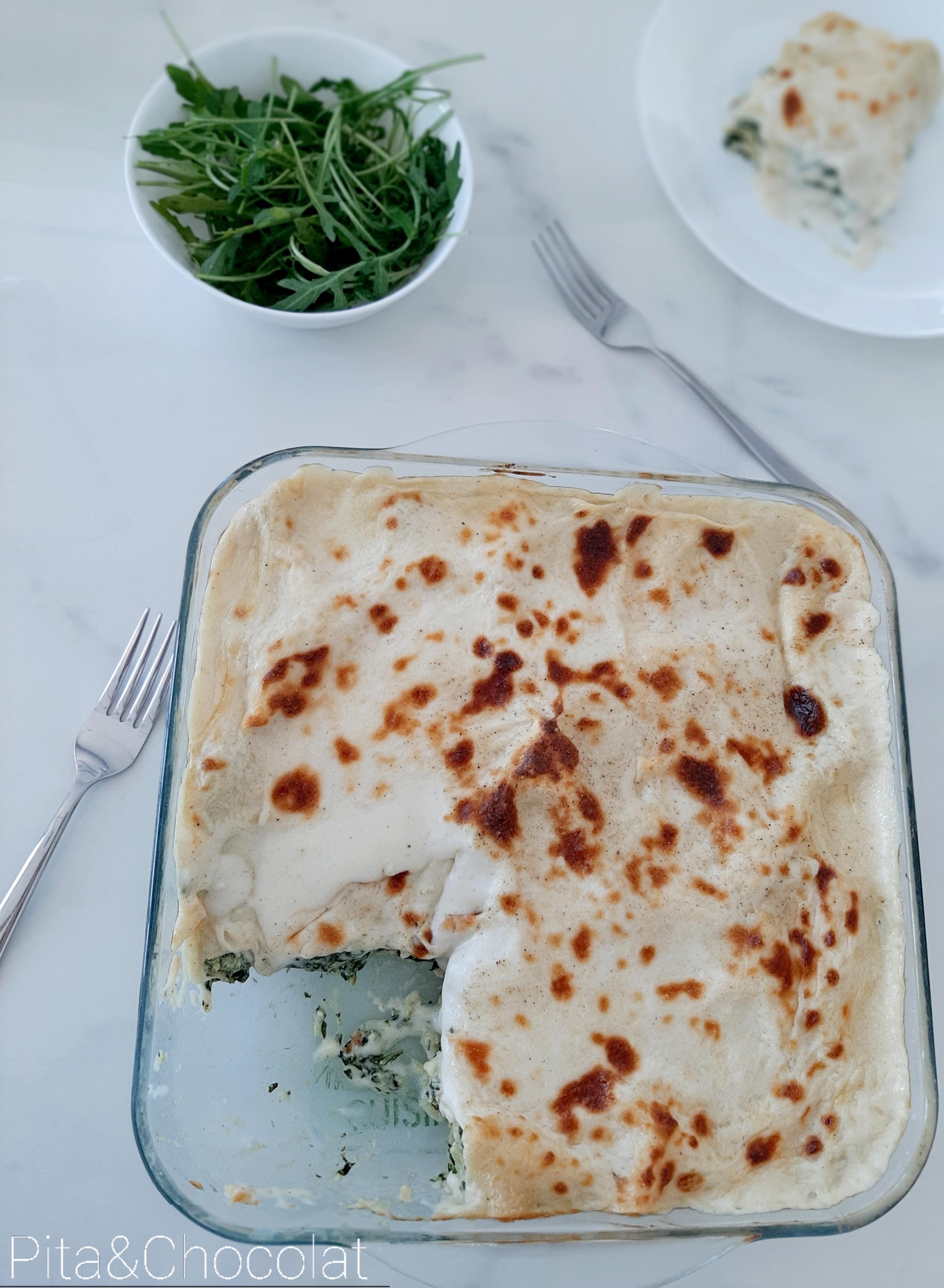 Lasagnes ricotta épinards grâtinées à la béchamel