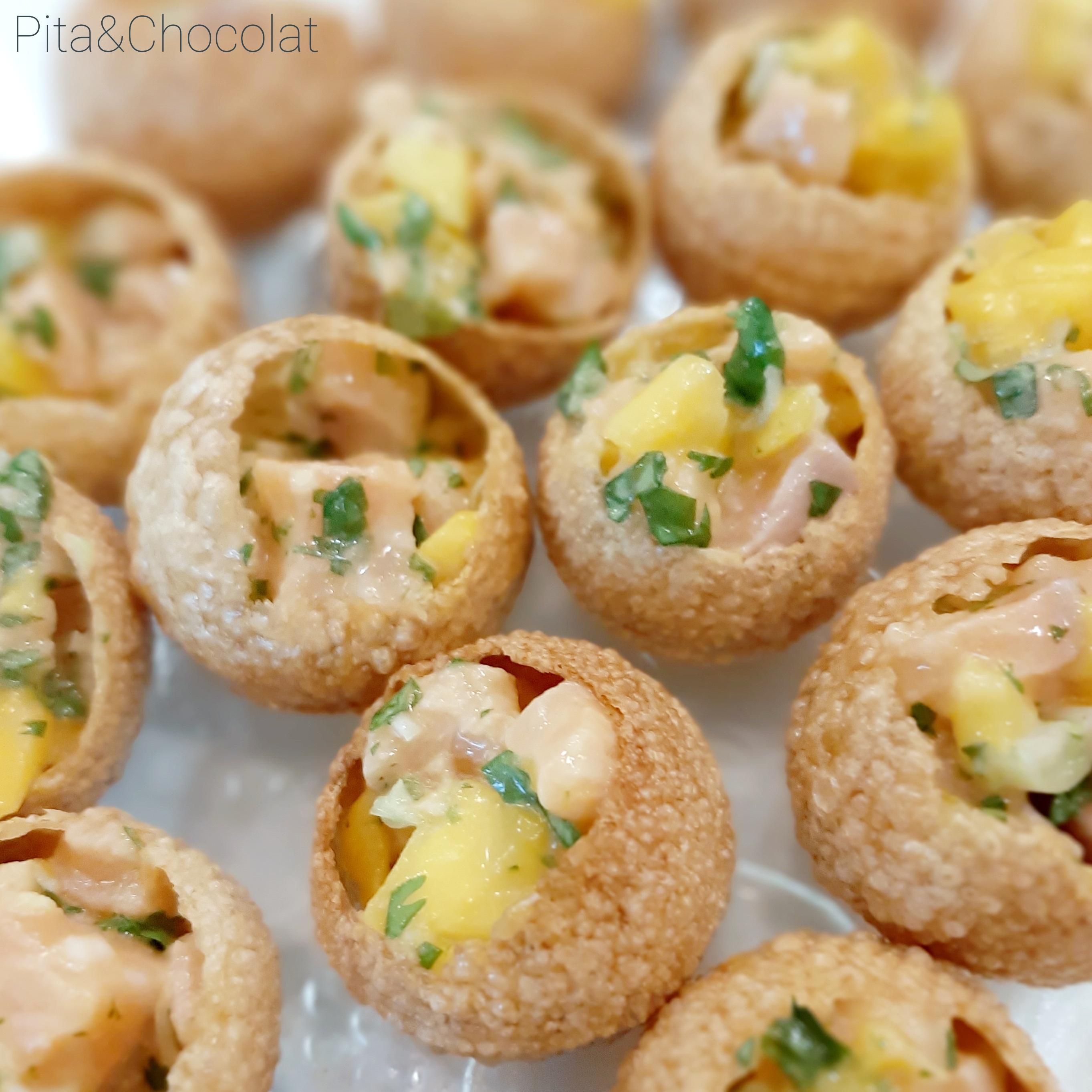Panipuri au tartare de saumon - mise en bouche croustillante